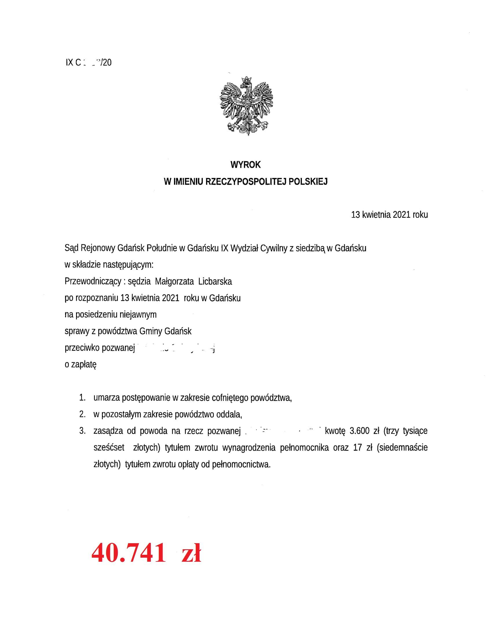 Wyrok z dnia 13.04.2021